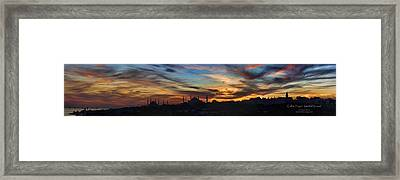 Panorama Of Istanbul Sunset- Call To Prayer Framed Print