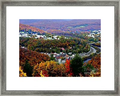 Panorama Of Jim Thorpe Pa Switzerland Of America - Abstracted Foliage Framed Print