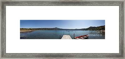 panorama of Lake Albano including pontoon and red rowing boat Framed Print