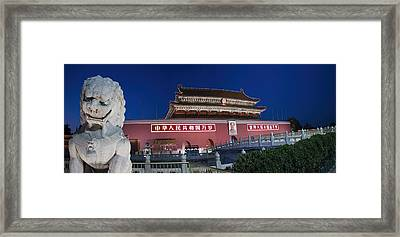 Panorama Of Lion And Forbidden City Gate Beijing China  Framed Print by David Smith