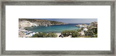 Panorama Of Mandrakia Fishing Village Milos Greece Framed Print