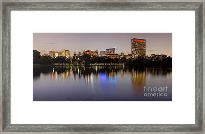 Panorama Of Mcgovern Lake And Texas Medical Center At Twilight- Hermann Park Houston Texas Framed Print by Silvio Ligutti