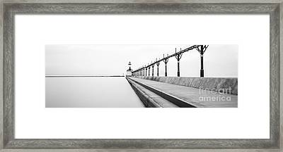 Panorama Of Michigan City Lighthouse Black And White Photo Framed Print