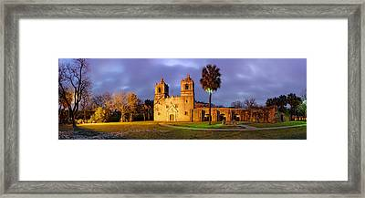 Panorama Of Mission Concepcion At Dusk - San Antonio Texas Framed Print