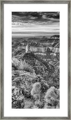 Panorama Of Mount Hayden Point Imperial Grand Canyon National Park In Black White - Arizona Framed Print by Silvio Ligutti