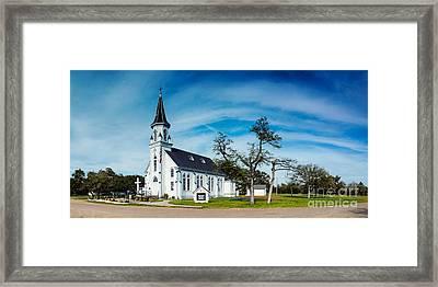 Panorama Of Sts. Cyril And Methodius Catholic Church - Dubina Texas Framed Print by Silvio Ligutti