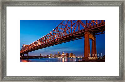 Panorama Of New Orleans And Crescent City Connection From Gretna At Dusk - Louisiana Framed Print