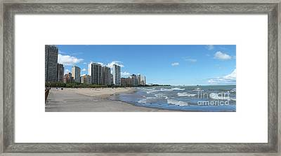 Panorama Of Oak Street Beach  Chicago Illinois Framed Print by Linda Matlow
