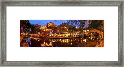 Panorama Of San Antonio Riverwalk At Dusk - Texas Framed Print