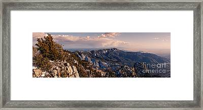 Panorama Of Sandia And Manzano Mountains From The Tramway Terminal - Albuquerque New Mexico Framed Print