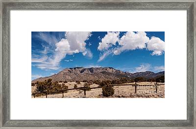 Panorama Of Sandia Mountains From Elena Gallegos Picnic Area - Albuquerque New Mexico Framed Print by Silvio Ligutti