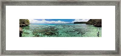 Panorama Of Snokeling Beach In New Caledonia Framed Print