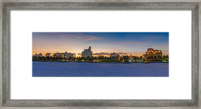 Panorama Of South Beach And Ocean Drive Hotels At Sunset - Miami Beach Florida Framed Print