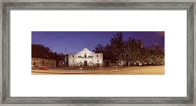 Panorama Of The Alamo At Dawn - San Antonio Texas Framed Print by Silvio Ligutti