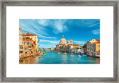 Panorama Of The Basilica Santa Maria Della Salute Framed Print
