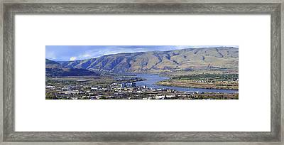 Panorama Of The Dalles Oregon. Framed Print by Gino Rigucci