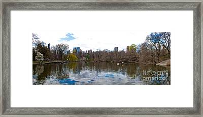 Panorama Of The Lake Of Central Park New York City Framed Print by Thomas Marchessault