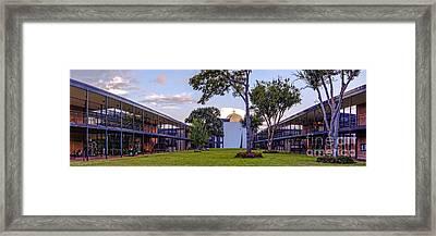 Panorama Of University St. Thomas Academic Campus - Montrose Houston Texas Framed Print by Silvio Ligutti