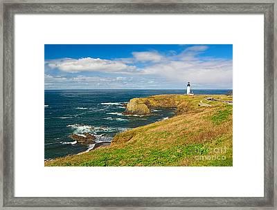 Panorama Of Yaquina Lighthouse On The Oregon Coast. Framed Print