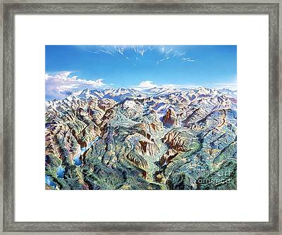 Panorama Of Yosemite Park Framed Print by Pg Reproductions