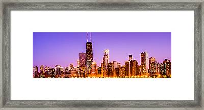 Panorama Photo Of Chicago Skyline By Night Framed Print by Paul Velgos