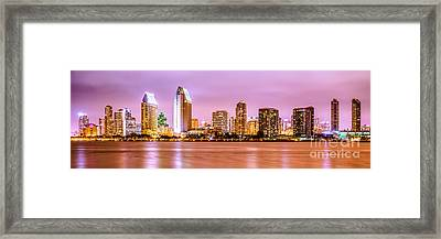 Panorama Picture Of San Diego Skyline At Night Framed Print by Paul Velgos