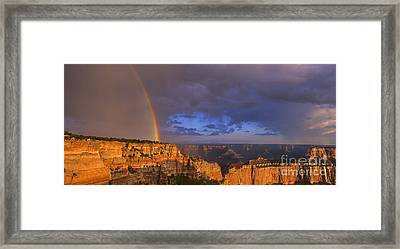Framed Print featuring the photograph Panorama Rainbow Over Cape Royal North Rim Grand Canyon National Park by Dave Welling