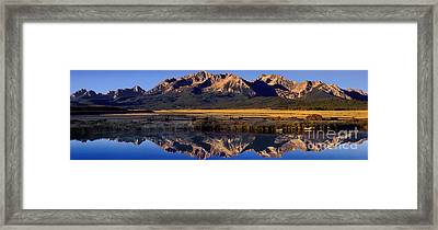 Panorama Reflections Sawtooth Mountains Nra Idaho Framed Print by Dave Welling