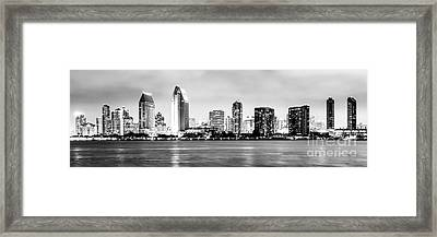 Panorama San Diego Skyline Black And White Picture Framed Print by Paul Velgos