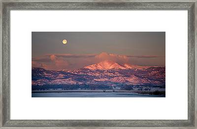 Panorama Scenic Landscape Rocky Mountain Moon Set View  Framed Print