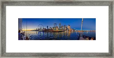 Panorama Seattle Skyline 2 Boats And A Ferris Wheel Framed Print