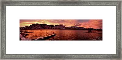 Panorama Sunset Skaha Lake Framed Print by Guy Hoffman