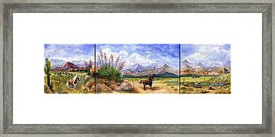 Panorama Triptych Don't Fence Me In  Framed Print