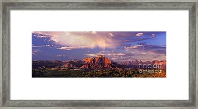 Panorama West Temple At Sunset Zion Natonal Park Framed Print by Dave Welling