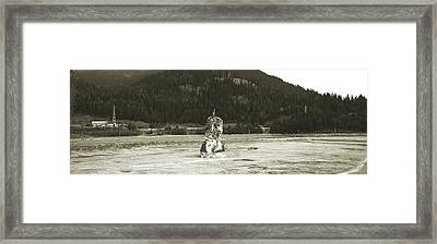 Panorama With Devil's Rock On The Bottom Of Bicaz Lake On Bistrita River In Neamt County Romania Framed Print by Vlad Baciu