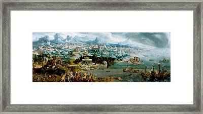 Panorama With The Abduction Of Helen Amidst The Wonders Of The Ancient World Framed Print