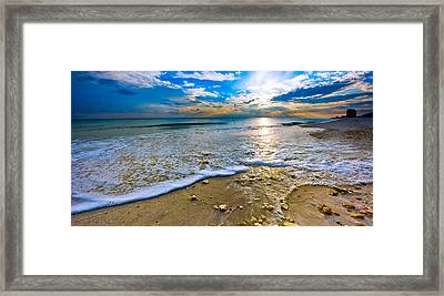 Panoramic Beach Sunset Framed Print