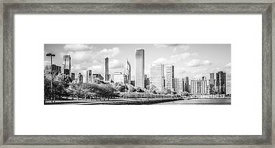 Panoramic Chicago Skyline Black And White Photo Framed Print by Paul Velgos