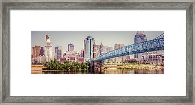 Panoramic Cincinnati Skyline Retro Photo Framed Print by Paul Velgos