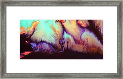 Panoramic Colorful Abstract Vibrant World By Kredart Framed Print