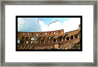 Panoramic Graphic Of The Roman Colisseum Framed Print by John Malone