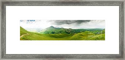 Panoramic Green Mountains Framed Print by Boon Mee