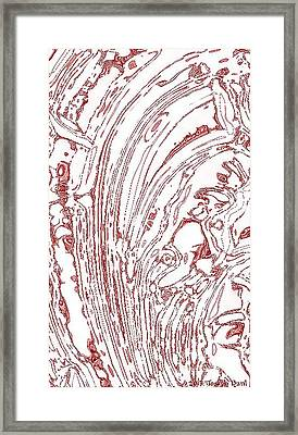 Panoramic Grunge Etching Burgundy Color Framed Print