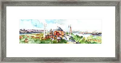 Framed Print featuring the painting Panoramic Hagia Sophia In Istanbul by Faruk Koksal