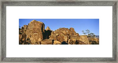 Panoramic Image Of Petroglyphs At Three Framed Print by Panoramic Images