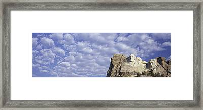 Panoramic Image With White Puffy Clouds Framed Print