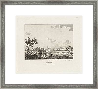 Panoramic Landscape With Corn Harvest Framed Print by Izaak Jansz. De Wit