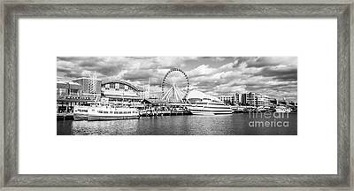 Panoramic Navy Pier Black And White Photo Framed Print