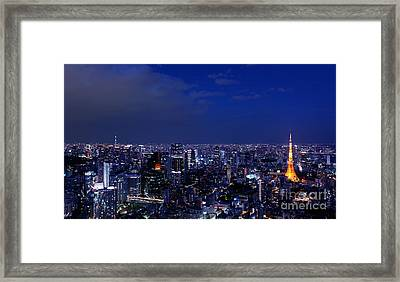 Panoramic Nighttime Scenery Of Tokyo Tower In Cityscape Framed Print