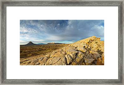 Panoramic Of Factory Butte, The Henry Framed Print by Chuck Haney
